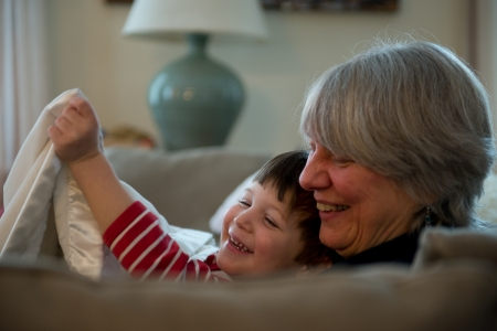 Joani Crosson of Thetford, Vermont cares for her grandchildren every Monday while her daughter and son-in-law work. Photo by Jennifer Hauck for The Grandparent Effect.