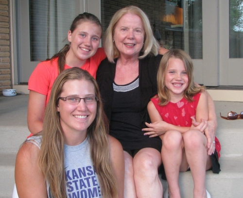 Judy Storandt with her granddaughters. Since moving to Kansas, Judy has started a