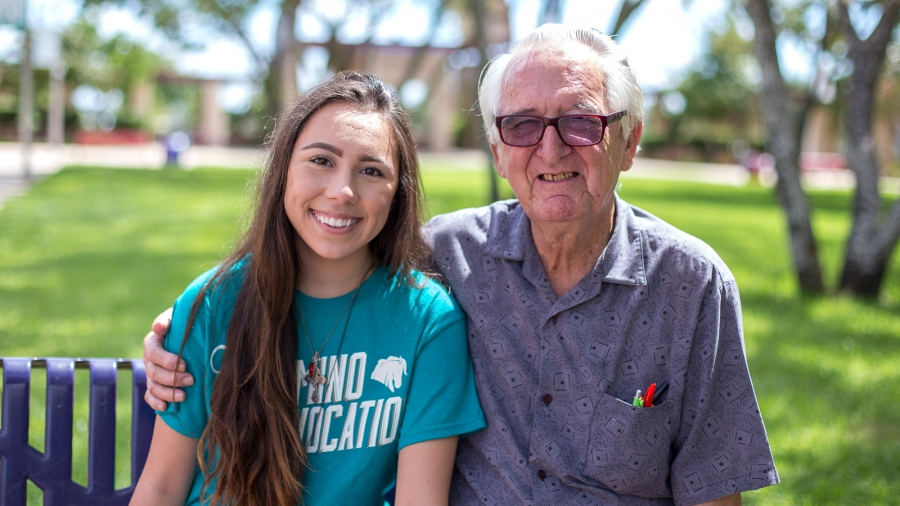 Both Melanie Salazar and her grandfather, Rene Neira, attend Palo Alto College in San Antonio. They sometimes walk each other to class and meet up for lunch. Photo by Palo Alto College.